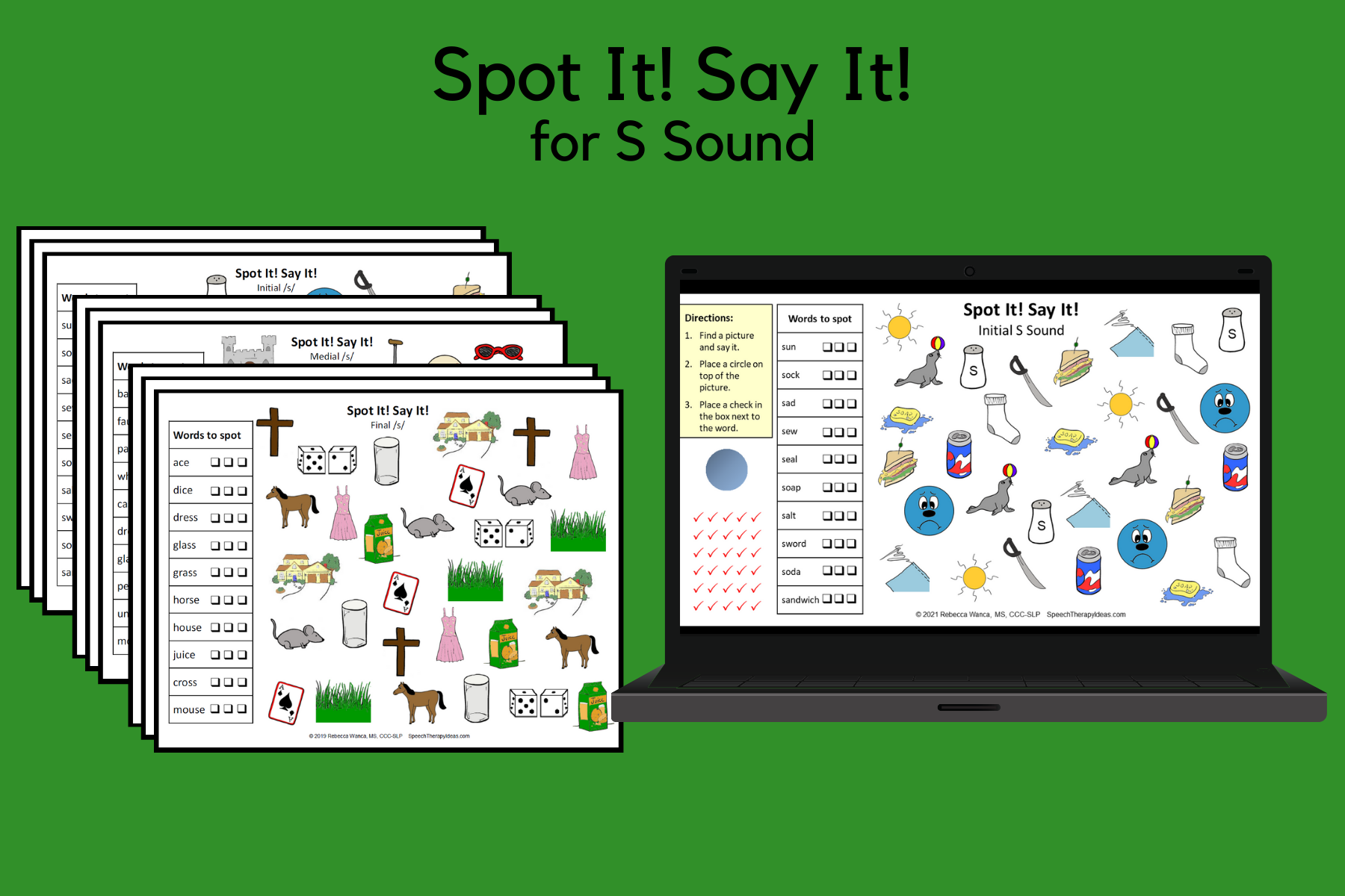 Spot It! Say It! Pages for S Sound