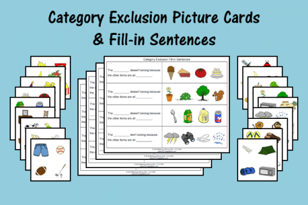 Category Exclusion Picture Cards & Sentences