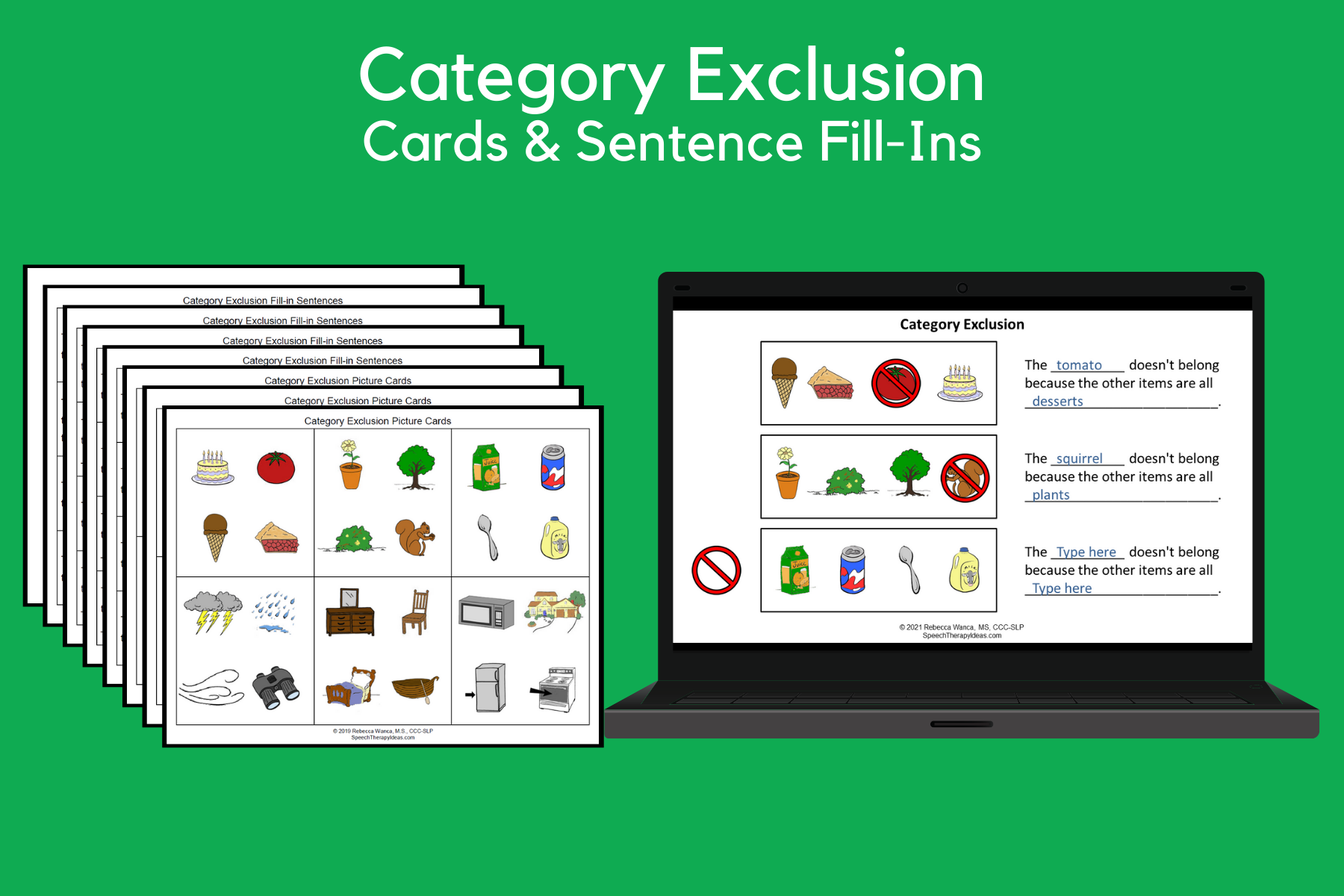 Category Exclusion Picture Cards and Fill-in Sentences