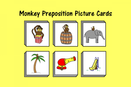 Monkey Preposition Picture Cards