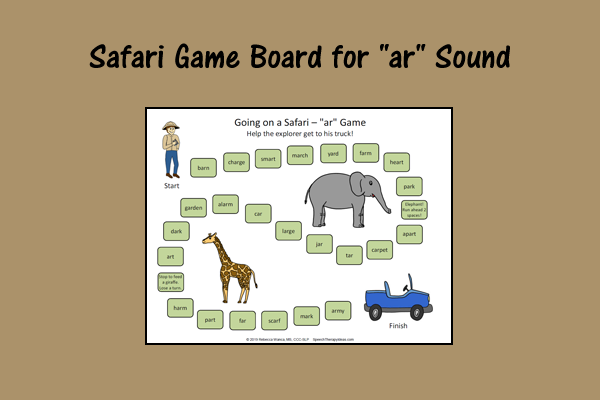 "Safari Game Board For ""ar"" Sound"