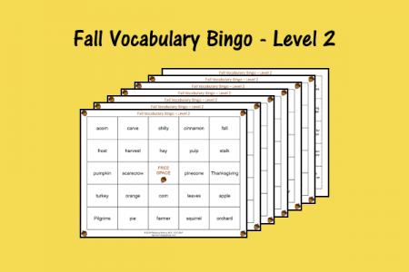 Fall Vocabulary Bingo - Level 2