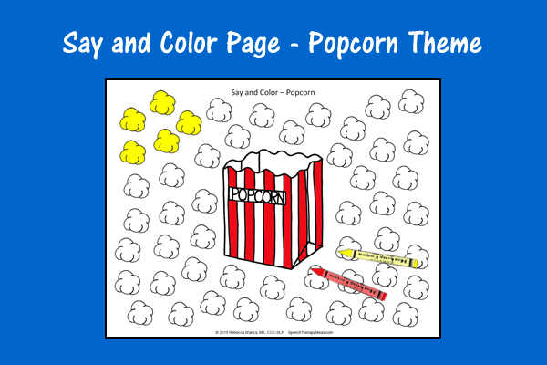 Say and Color Page – Popcorn Theme