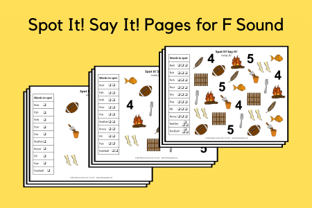 Spot It Say It Pages for F Sound
