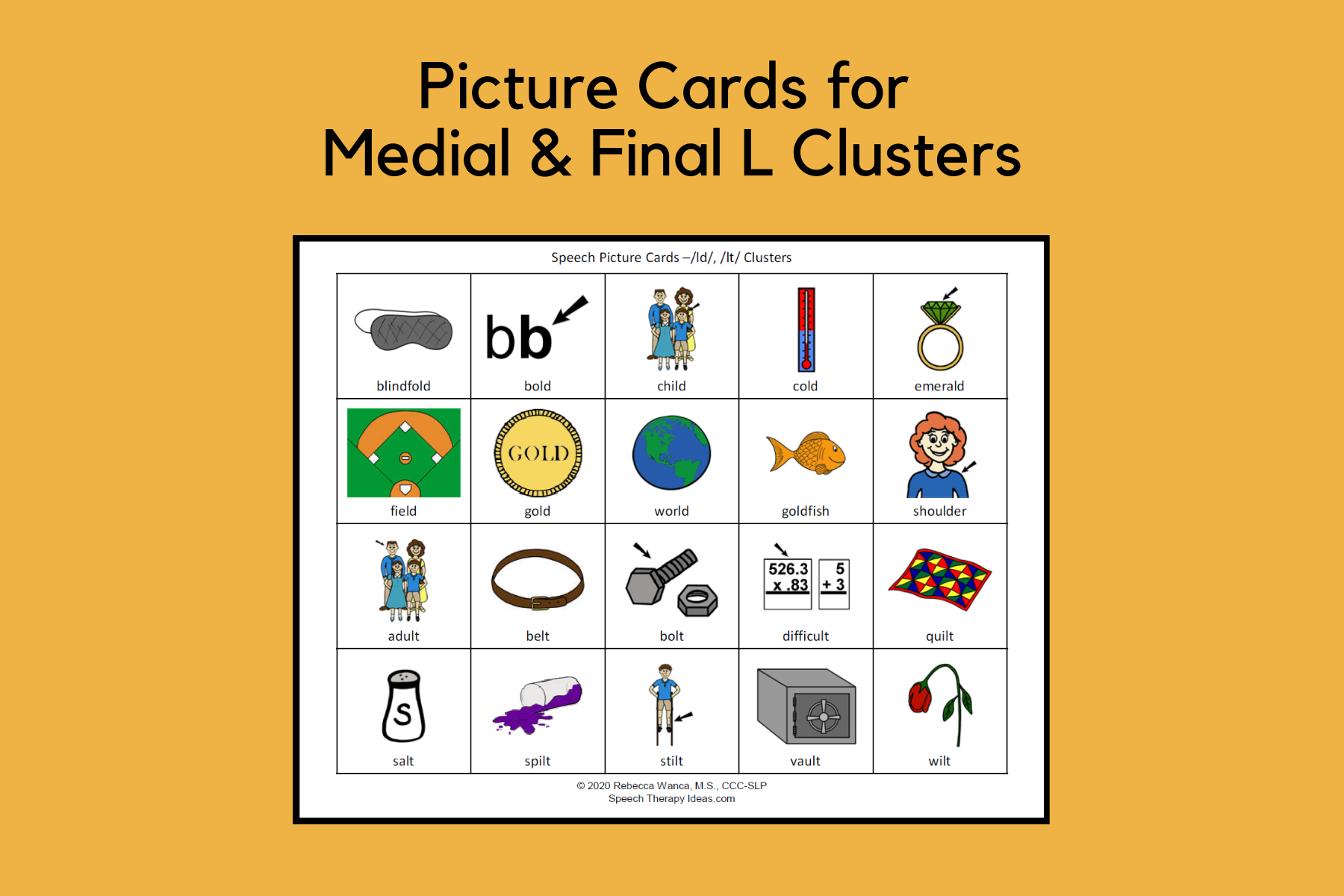 Picture Cards For Medial And Final L Clusters