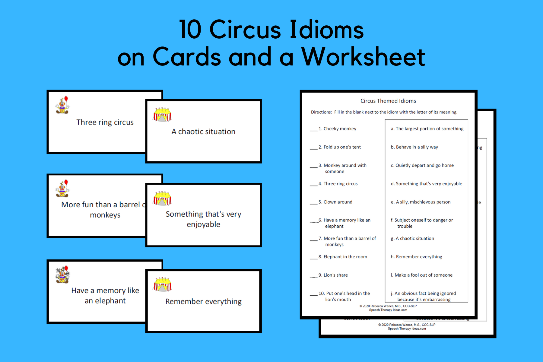 Circus Theme Idiom Cards And Worksheet