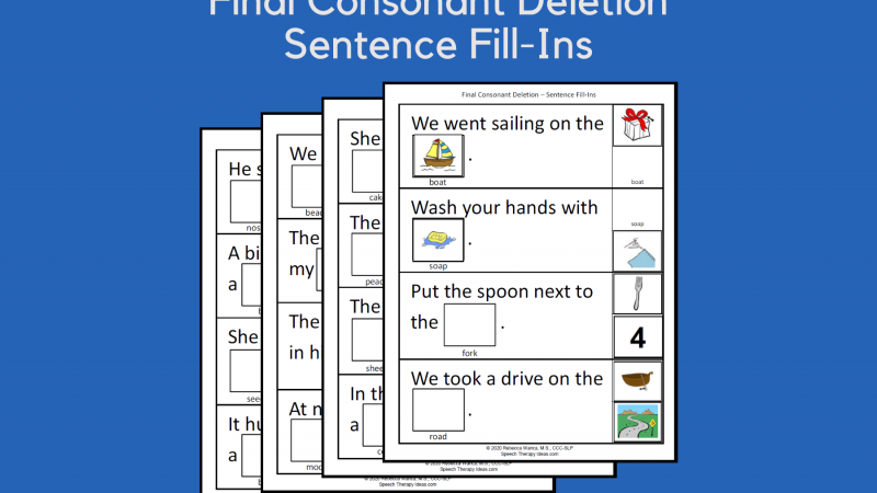 Final Consonant Deletion Sentence Fill Ins