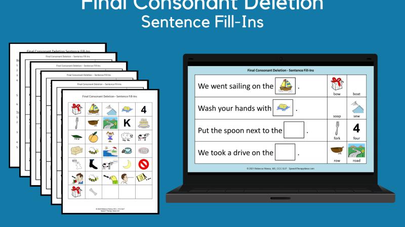 Final Consonant Deletion Sentence Fill Ins