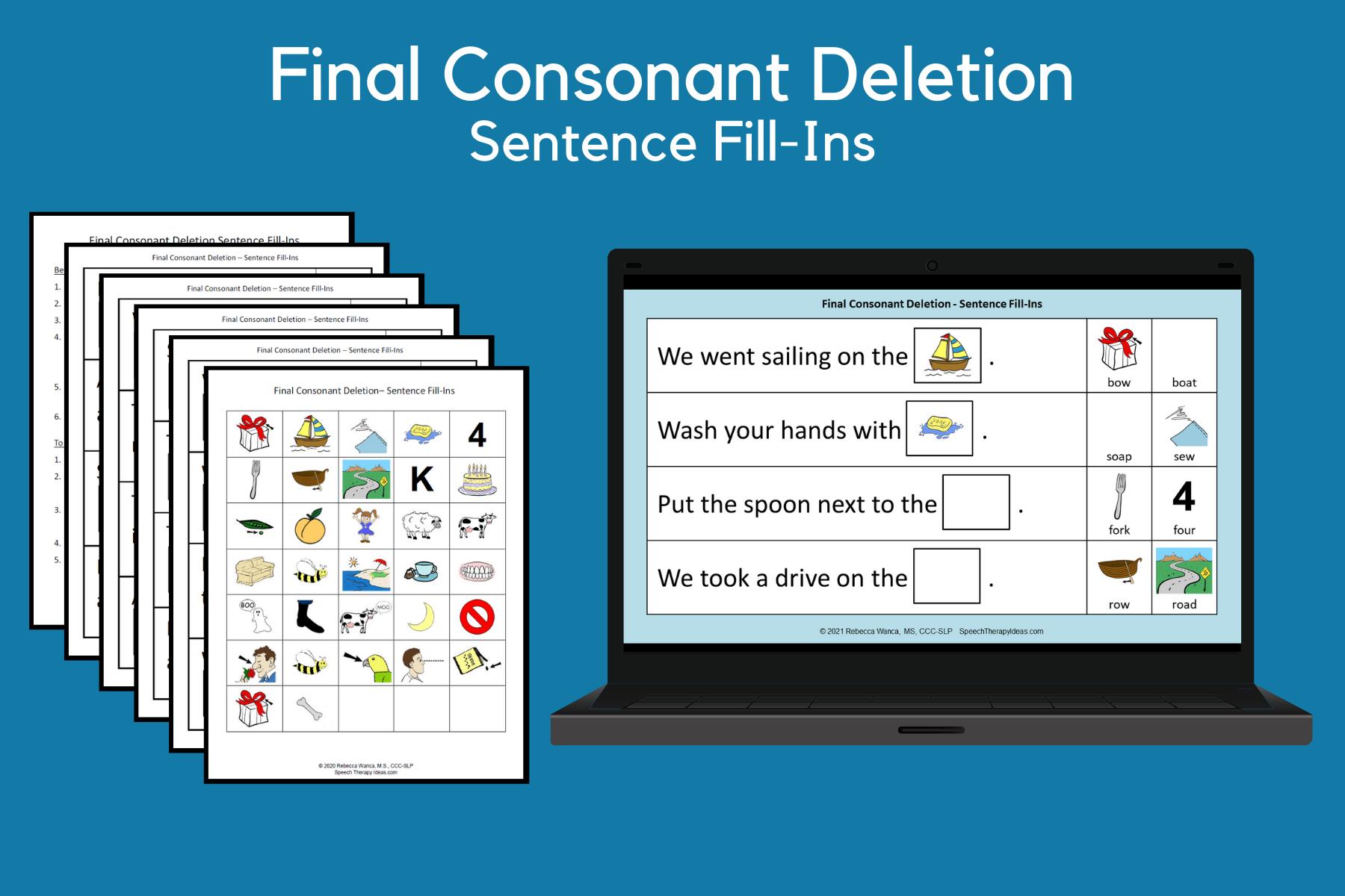 Final Consonant Deletion Sentence Fill-Ins