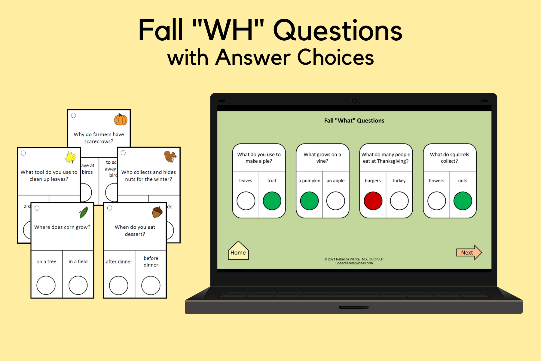 """Fall """"WH"""" Question Cards"""