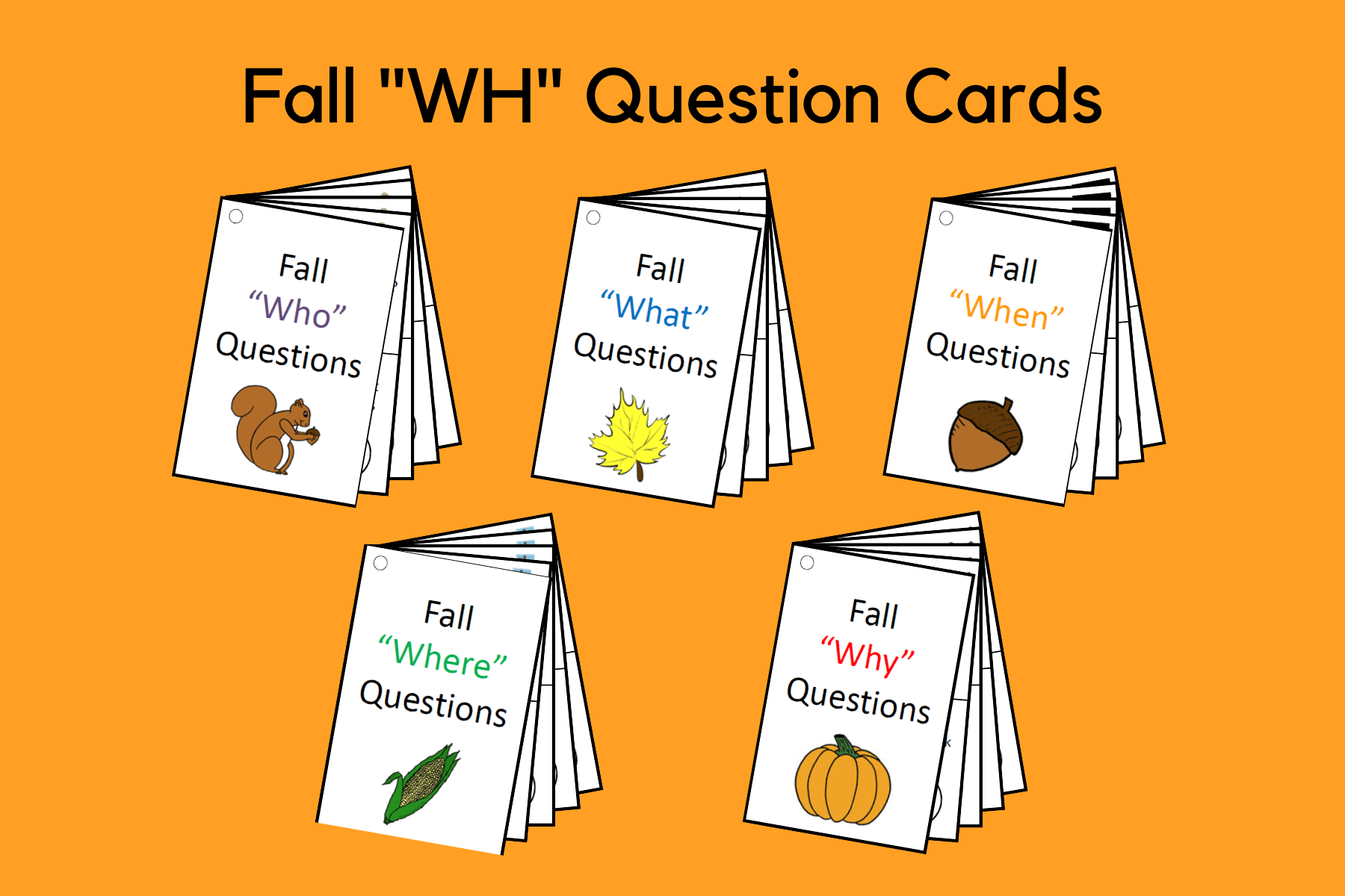 "Fall ""WH"" Question Cards"