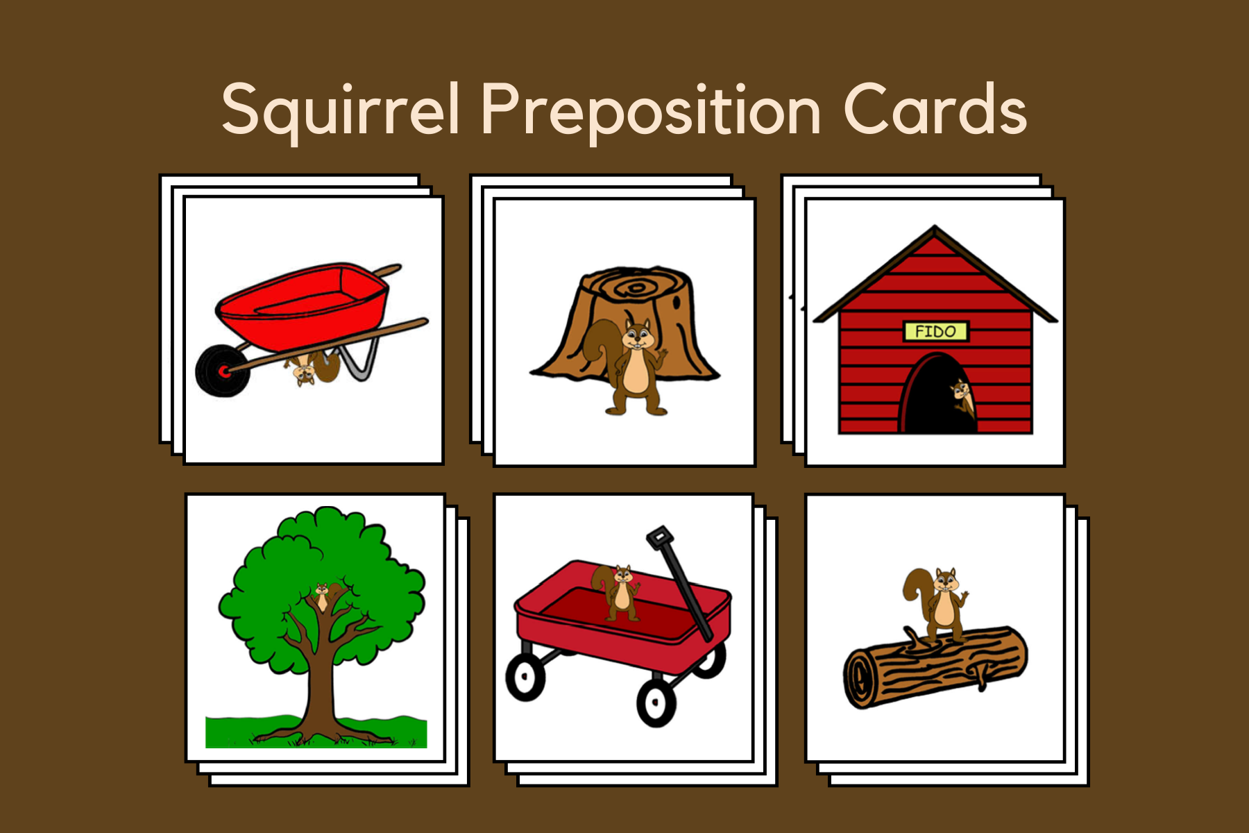 Squirrel Preposition Picture Cards