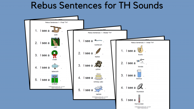 Rebus Sentences For TH Sounds