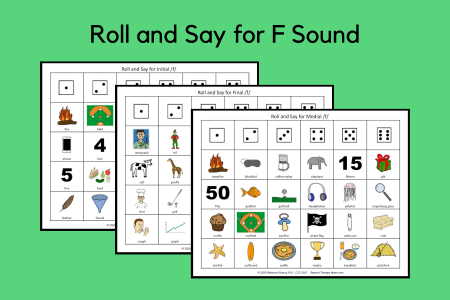 Roll and Say for F Sound
