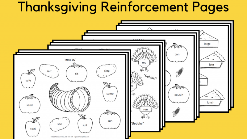 Thanksgiving Articulation Reinforcement Pages