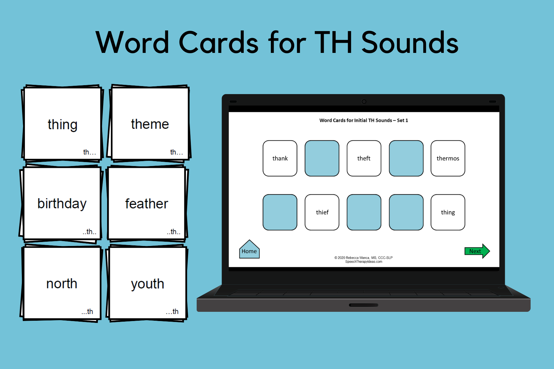Word Cards For TH Sounds