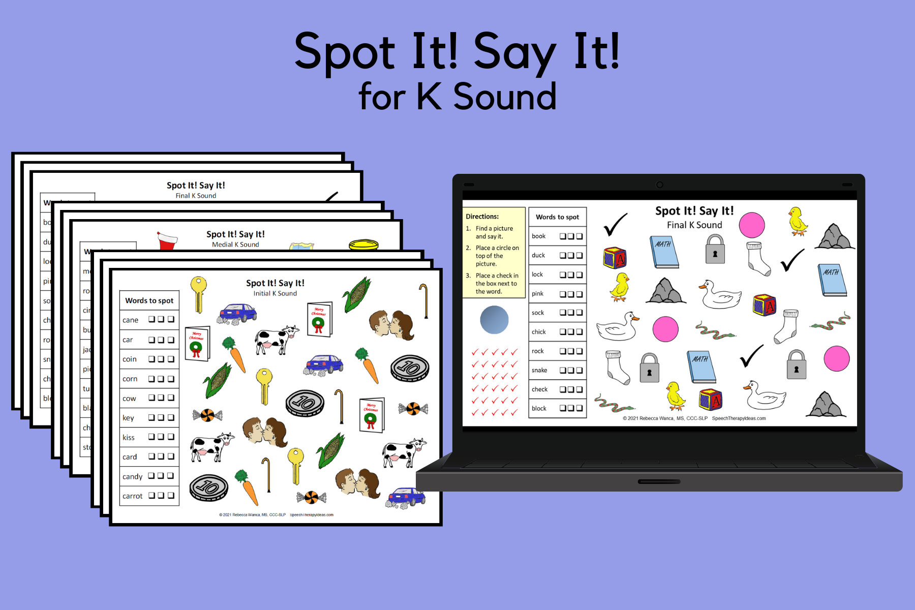 Spot It! Say It! Pages for K Sound