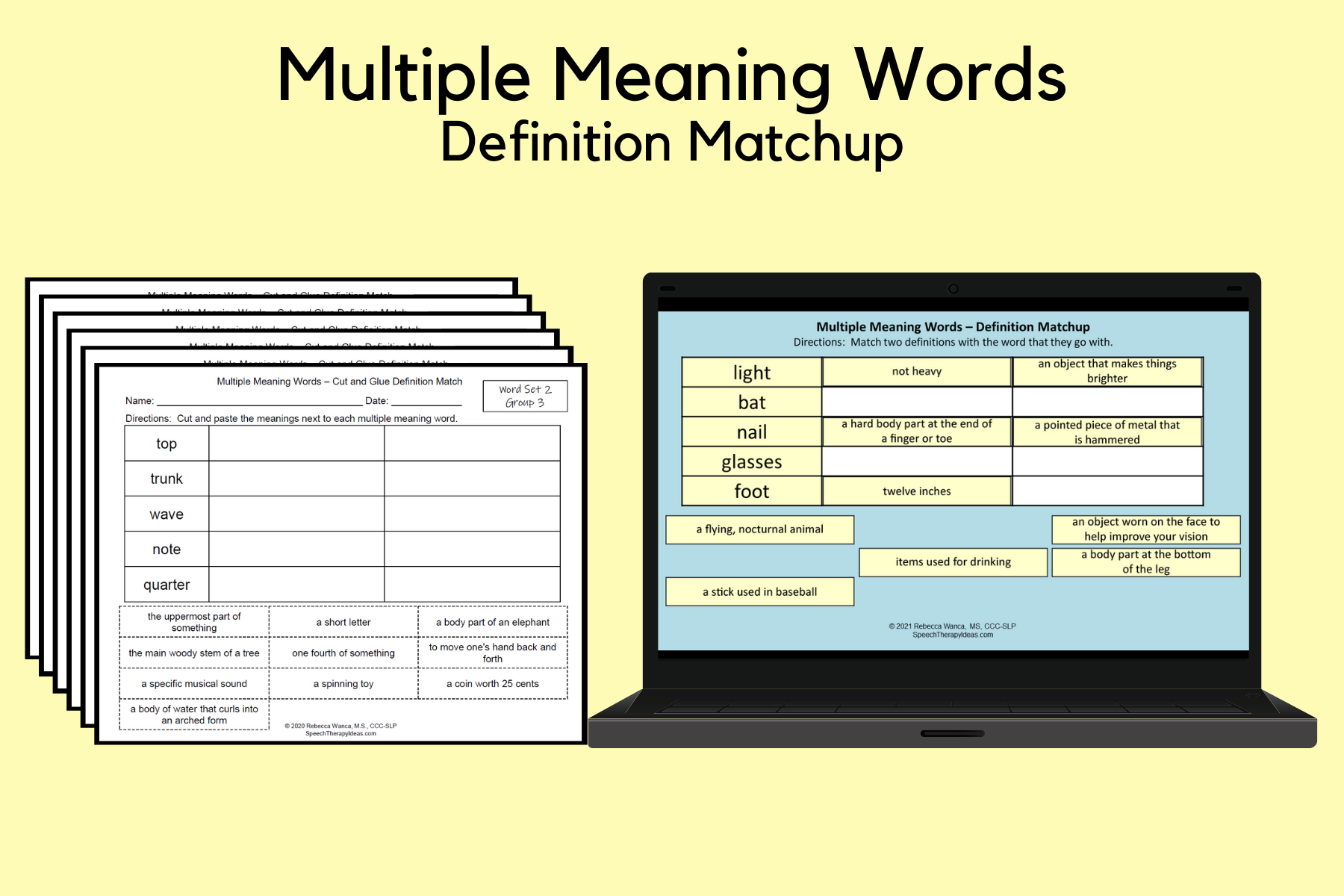 Multiple Meaning Words – Definition Matchup