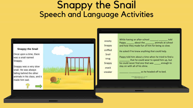 Snappy The Snail Speech And Language Activities