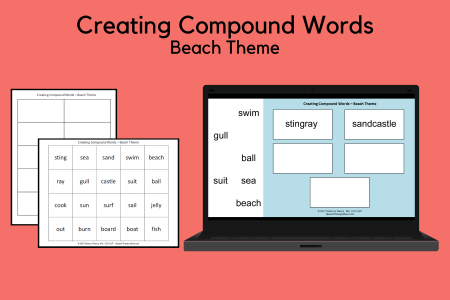Creating Compound Words - Beach Theme