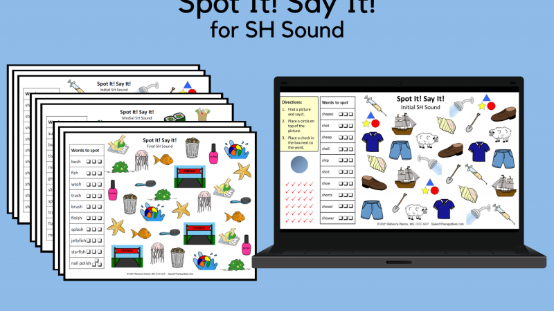 Spot It! Say It! Pages For SH Sound