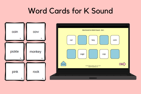 Word Cards for K Sound