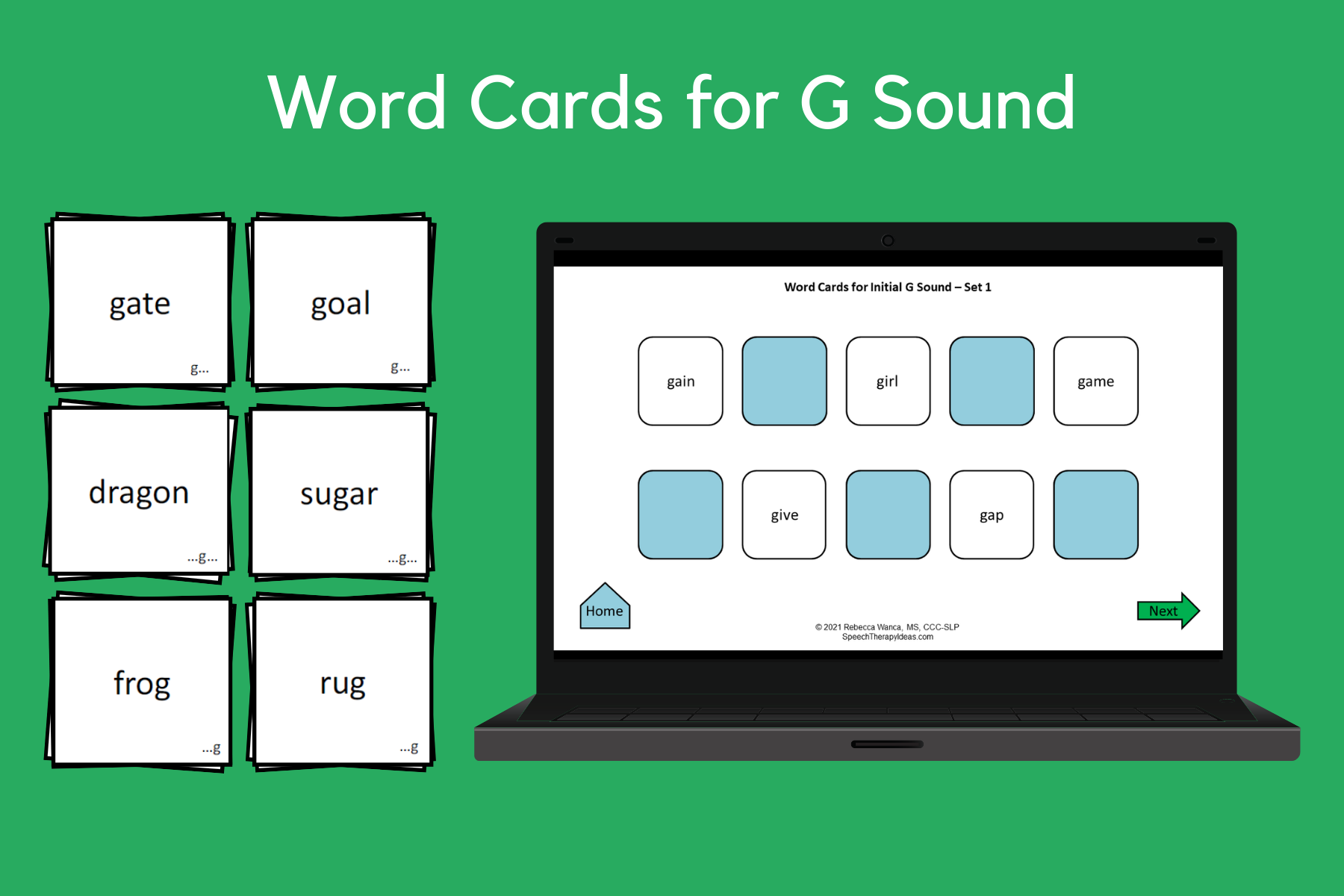 Word Cards For G Sound