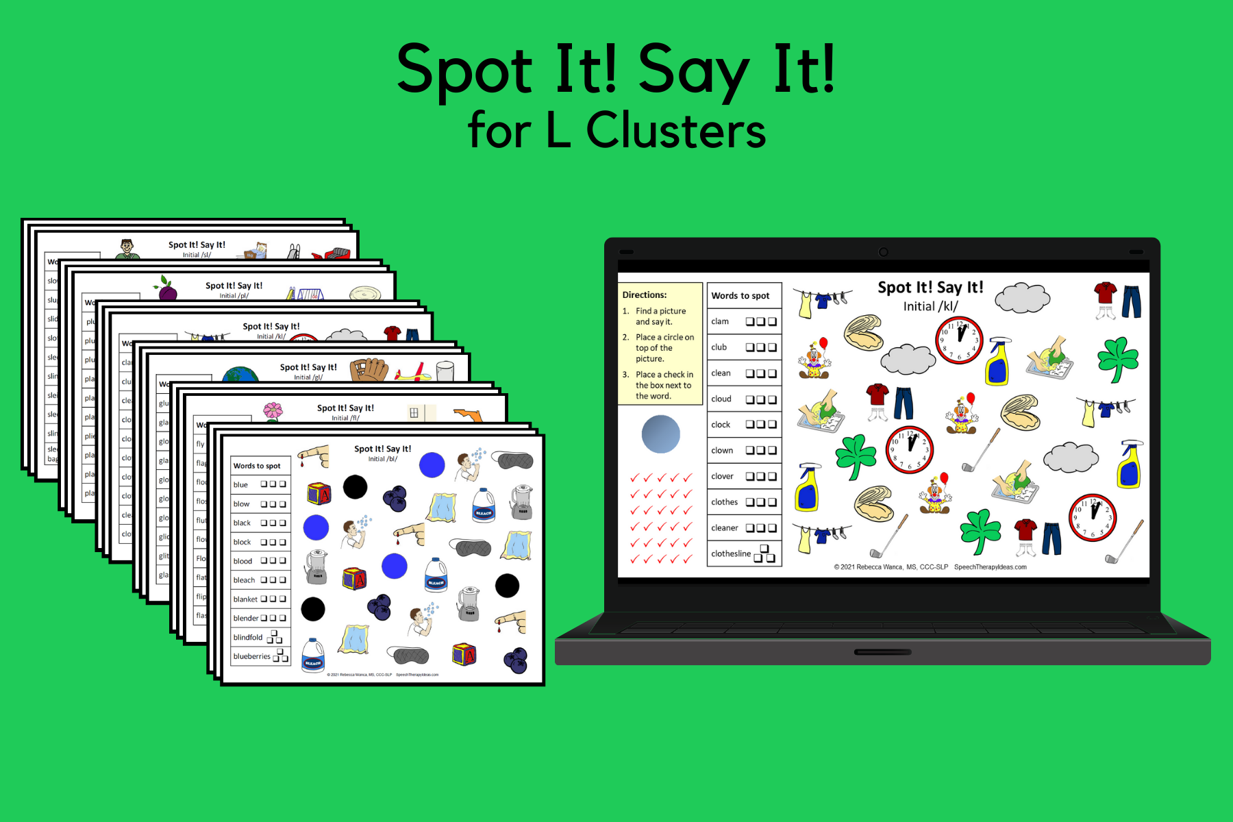 Spot It! Say It! Pages for L Clusters