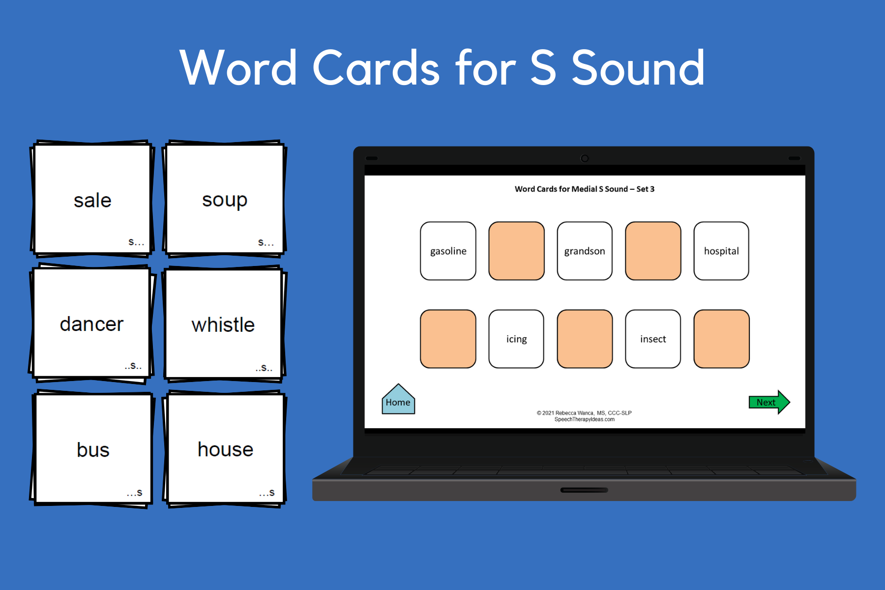 Word Cards for S Sound